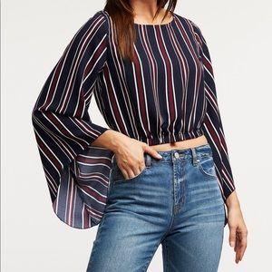 Long Bell Sleeve Stripe Crop Top